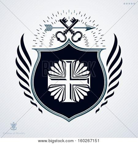 Vector Heraldic Coat Of Arms Decorated In Vintage Award Design.