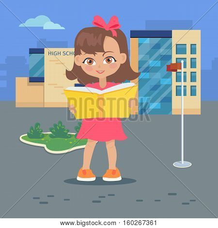 Girl reads a book near high school building isolated on white. Adorable girl has leisure time. Student during break. Young lady at the university in flat style design. Daily activity. Vector