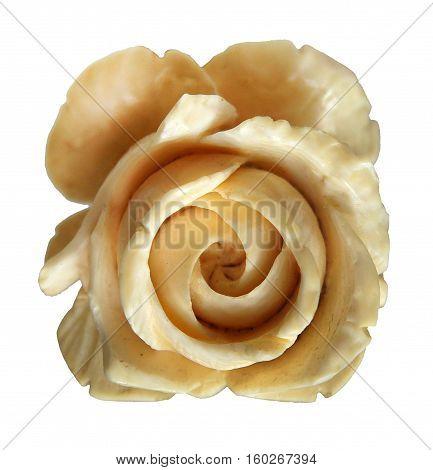 Elephant Ivory Carved Rose Pendant isolated on white background