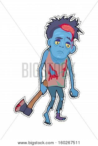 Scary zombie walking. Frightening dead man with blue skin, blood stains, dressed in tatter drags bloody ax flat vector. Horror character for Halloween. Fashion patch in cartoon 80s-90s comic style