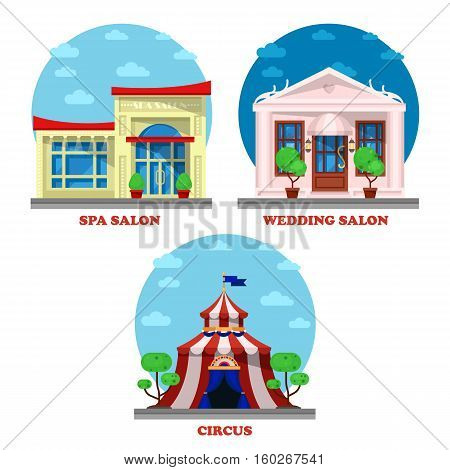 Circus and spa salon, wedding building exterior view. Marriage ceremony store building exterior view, circus camp or tent architecture, women beauty cosmetics salon logo or shop exterior banner