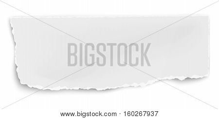 Vector oblong paper tear with soft shadow isolated on white background