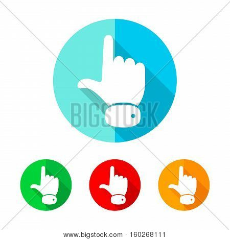 White hand cursor with long shadow. Vector illustration. Hand cursor sign on a the round button.
