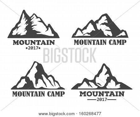 Hill landscape or mountain peac set of icons. Rock logo or mountain silhouette, rocky hills and mountain outline. Travel or tourism agency, extreme winter sport logo, expedition and exploration theme