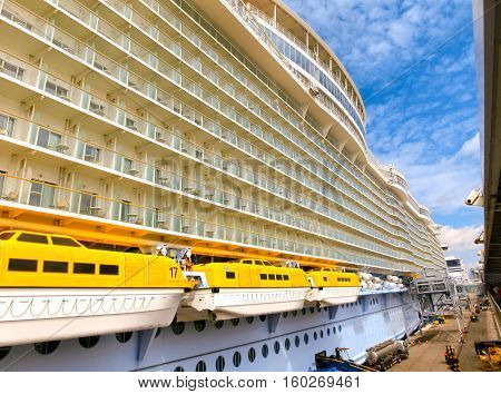 Barselona, Spaine - September 06, 2015: Royal Caribbean, Allure of the Seas is in port at startup in Barselona on September 6 2015. The second largest passenger ship constructed behind sister ship Oasis of the Seas.