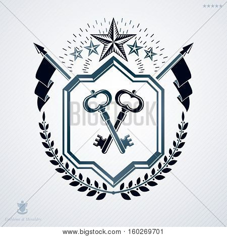 Vector Retro Insignia Design Decorated With Laurel Leaf And Made Using Vintage Elements Like Star An