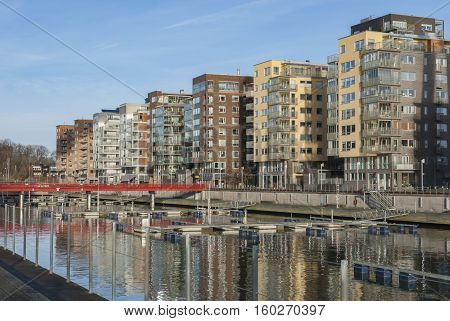 Housing area by the river in Gothenburg Sweden