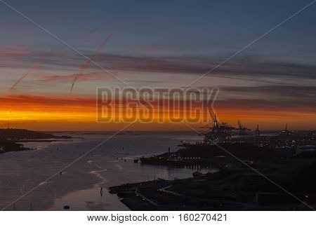 Sunset in city harbour in Gothenburg Sweden