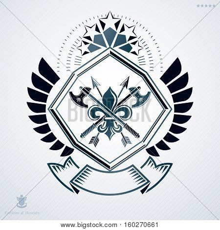 Heraldic Vintage Vector Design Element. Retro Style Label Created Using Hatchets Crossed And Pentago