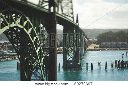 Tilt-shift view of bridge on Oregon Coast in the Pacific Northwest USA. Yaquina Bay Bridge in Newport, Oregon.