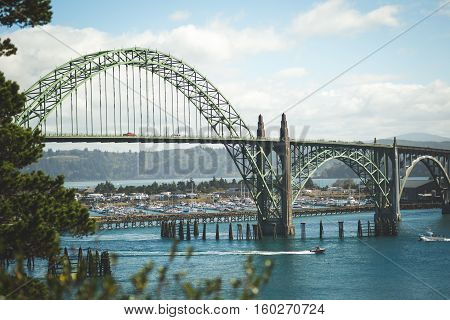 Scene of a beautiful bridge in Oregon. Yaquina Bay Bridge in Newport, Oregon, USA.