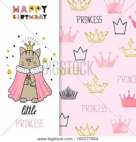 Birthday greeting card design for little girl. Vector illustration of cute little princess cat.