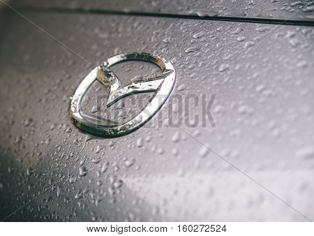 MILANOITALY. jENUARY 1ST 2016. The Mazda symbol. Mazda is a Japanese automaker based in Fuchū Aki District Hiroshima Prefecture Japan.