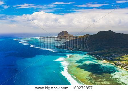 Aerial view of Le Morne Brabant peninsula. Amazing Mauritius landscape