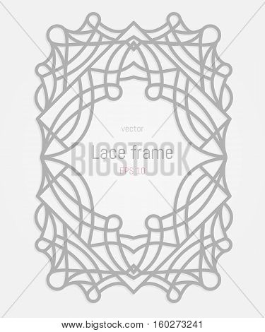 Decorative vector frames and border. Wedding or greeting card. Lazer cut rectangle ornament.