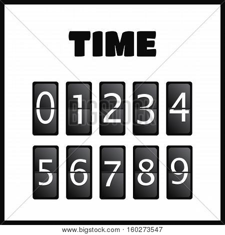Wall flap counter clock template. Time clock vector