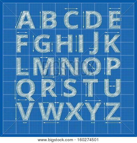 Blueprint alphabet. Vector drafting blueprint paper letters. Sketch alphabet artistic with arrow measurement illustration