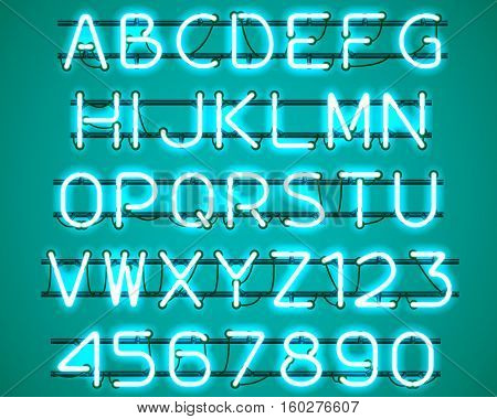 Glowing blue Neon Alphabet with letters from A to Z and digits from 0 to 9 with wires tubes brackets and holders. Shining and glowing neon effect. Vector illustration.