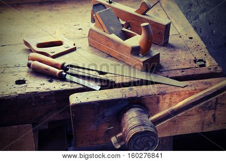 saw Planer and other tools of a carpenter