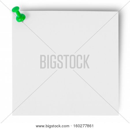 White sticker pinned green office pin isolated on white background