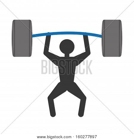 silhuette man weight lifting barbell vector illustration eps 10