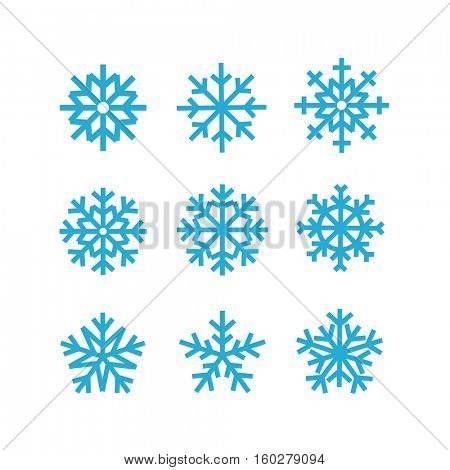 Different vector snowflakes collection. Vector ice crystal set isolated on white