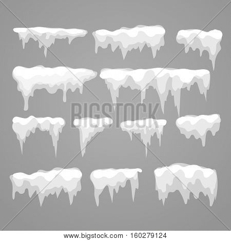 Vector icicle and snow elements on grey background. Different snow cap isolated on 