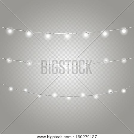 Different lighting garland vector set isolated on transparent background. Christmas 