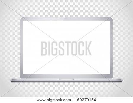 Modern laptop computer vector mockup. Vector notebook photoreal illustration. Template for a content
