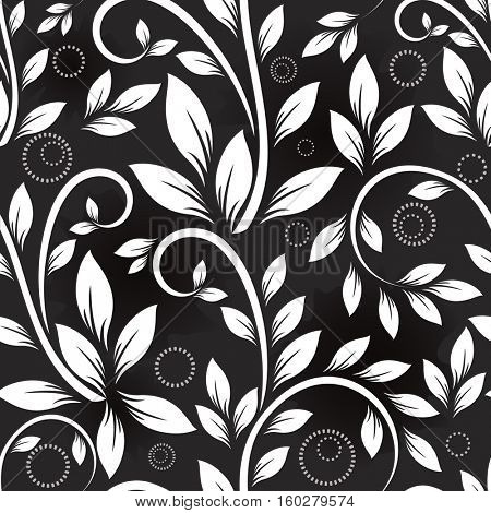 Seamless leaves black and white monochrome pattern. Floral background.