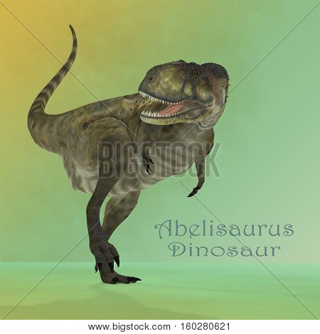 Abelisaurus Predator Mirror 3D Illustration - Abelisaurus was a carnivorous theropod dinosaur that lived in Argentina during the Cretaceous Period.