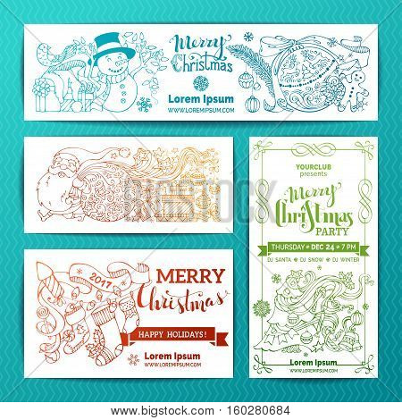Vector set of doodles Merry Christmas banners. Christmas decorations Christmas tree and baubles Santa with sack Santa socks gifts gingerbread man snowman with garland hand-written lettering.
