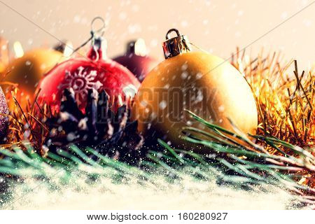 Christmas background of Christmas balls and Christmas tree branches