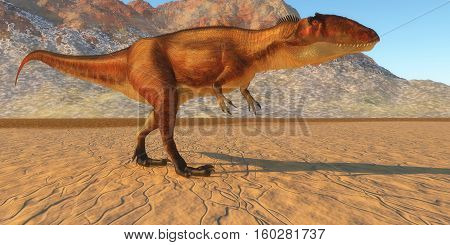 Carcharodontosaurus Out Hunting 3D Illustration - Carcharodontosaurus was a carnivorous theropod dinosaur that lived in the Sahara region of Africa in the Cretaceous Period.