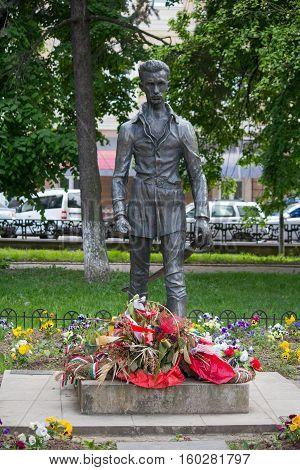 Uzhhorod Ukraine - April 27 2016: Monument of Sandor Petofi a Hungary's national poet and the key figures of the Hungarian Revolution of 1848