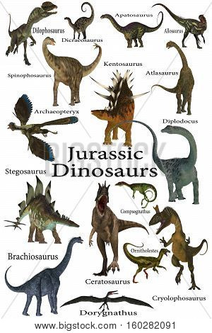 Jurassic Dinosaurs 3D Illustration - This is a collection of various dinosaurs including carnivores herbivores and flying reptiles that lived in the Jurassic Period.