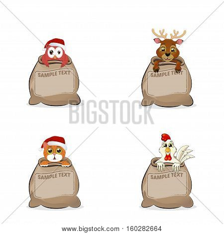 Greeting Cards animals bag cat owlet rooster and deer vector illustration
