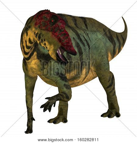 Shuangmiaosaurus Dinosaur on White 3D Illustration - Shuangmiaosaurus was a herbivorous iguanodont dinosaur that lived in China in the Cretaceous Period.