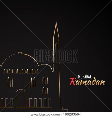 Single flat icon of Mosque isolated on black background. Logo of islamic holy building. Ramadan Kareem pattern. Traditional arabic architecture. Asian construction. Symbol of east. illustration