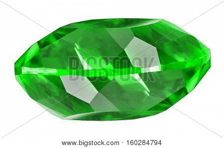 green emerald isolated on white background