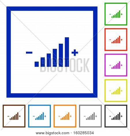 Control element flat color icons in square frames
