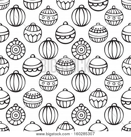 Vector seamless Christmas pattern. Set of doodles Christmas tree baubles on white background. Doodles hand-drawn boundless background. Black and white.