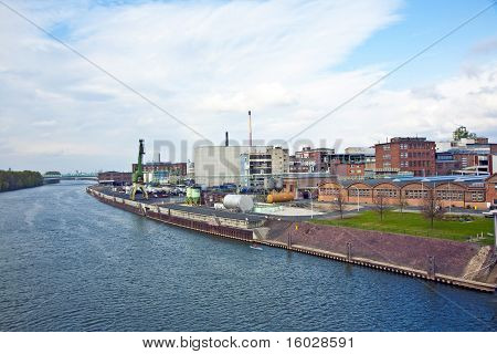 old brick industry plant at a river