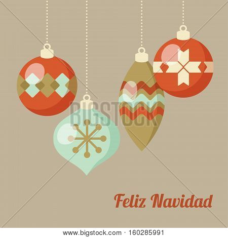 Retro Merry Christmas greeting card, invitation, Spanish Feliz Navidad. Hanging Christmas balls. Flat design. Vector illustration background.