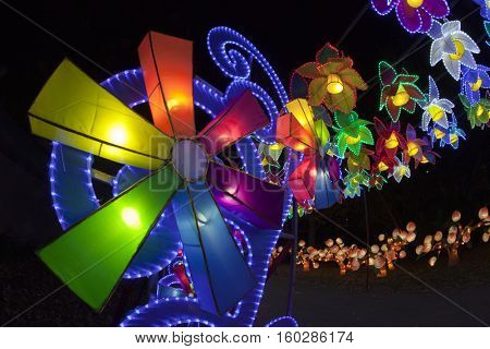COLUMBUS, OHIO - NOVEMBER 27, 2016:  Columbus hosted the Chinese Lantern Festival for the holiday season at the Ohio State fairgrounds.