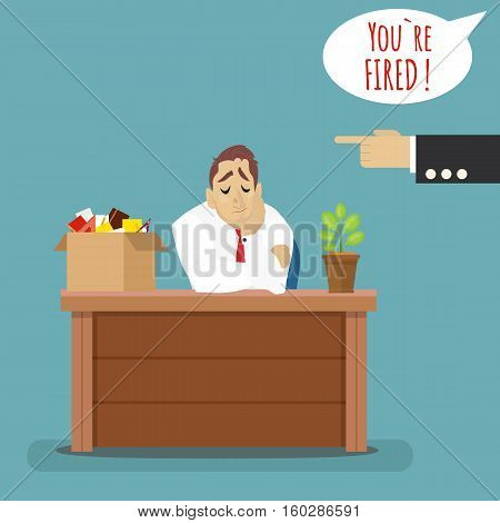 Dismissed frustrated business man with box with her things. Angry boss firing employee.