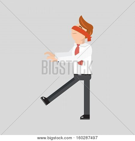 Blindfolded businessman is searching a path isolated. Flat style vector illustration. Leap of faith concept.