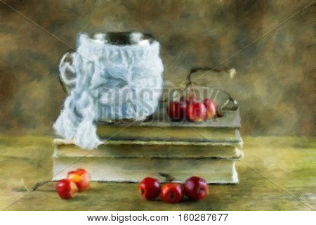 Still-life with books and paradise apples. Oil painting effect.