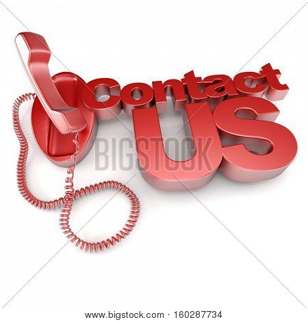 3D rendering of red shapes with white letters forming the words contact us