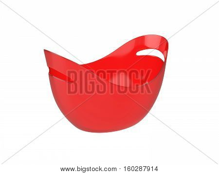 Oval red plastic bucket Isolated on White Background, 3D rendering
